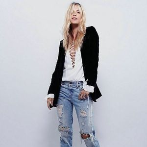 Free People Yesterday's Muse Slouchy Velvet Jacket